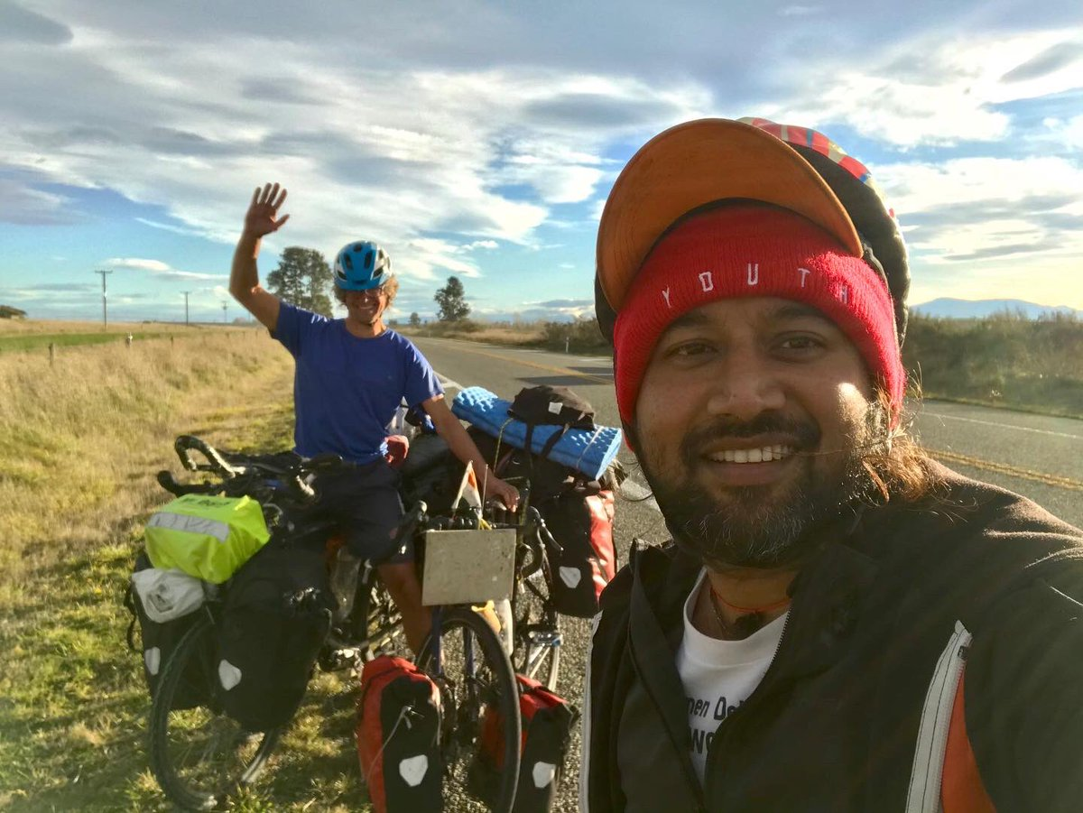 Happy to have met #German cyclist Mr. Martin aged 40, on my way to #Hinds, #NewZealand. He is on his way to #Christchurch and I am on my way to #Bluff, #SouthIsland New Zealand.<br>http://pic.twitter.com/qPu17qG4lX