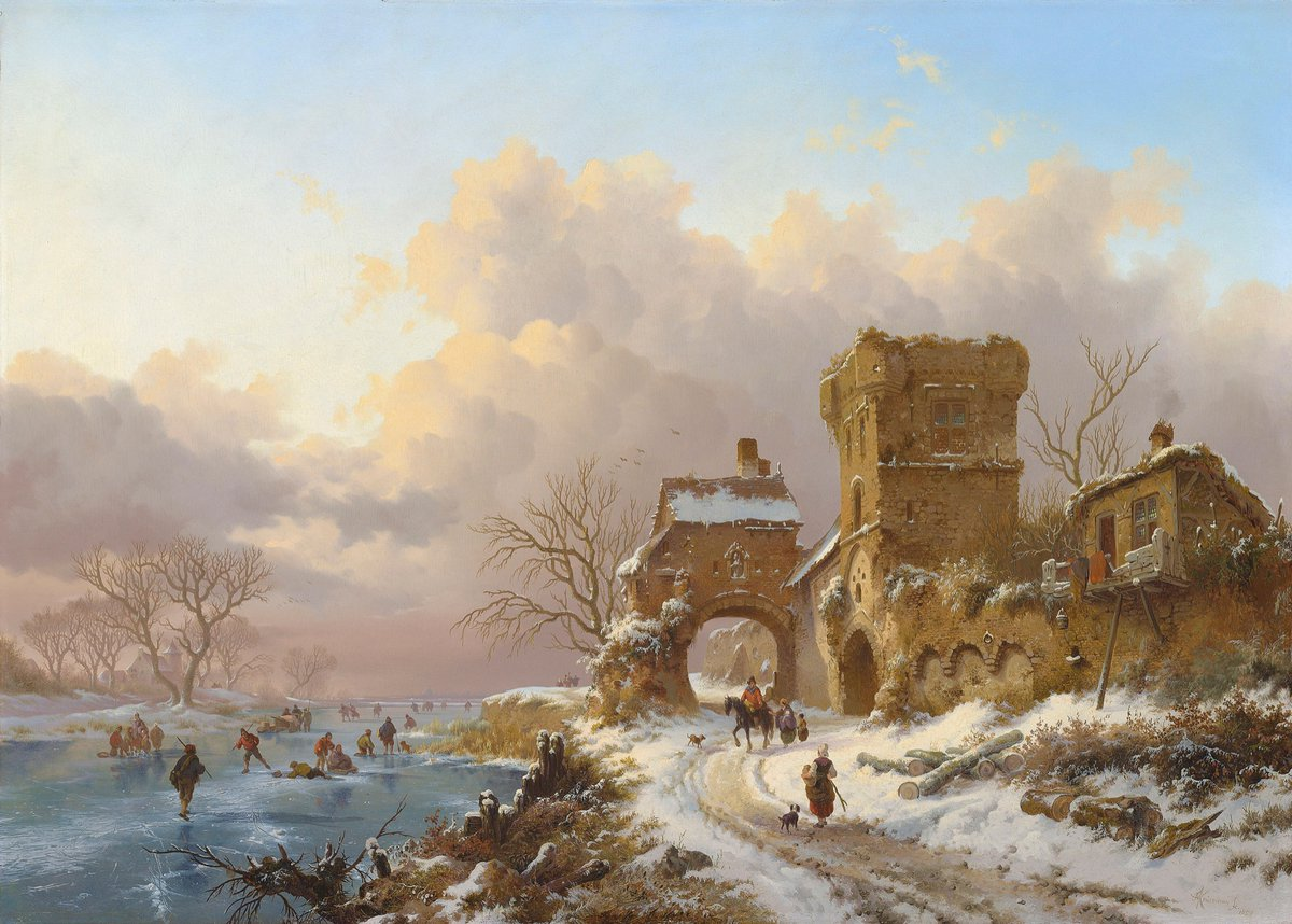 Fredrik Marinus Kruseman (1816-May 25, 1882, Dutch) #romanticism #landscape #painting #artlovers #art Winter Landscape with Travellers near a Town Gate, 1857.pic.twitter.com/vJZQRovAGc