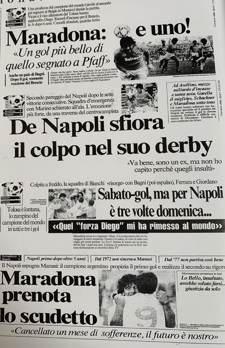 Our 86/87 #Scudetto and #CoppaItalia winning squad with some newspaper clippings. https://t.co/XdTLL9LFXR