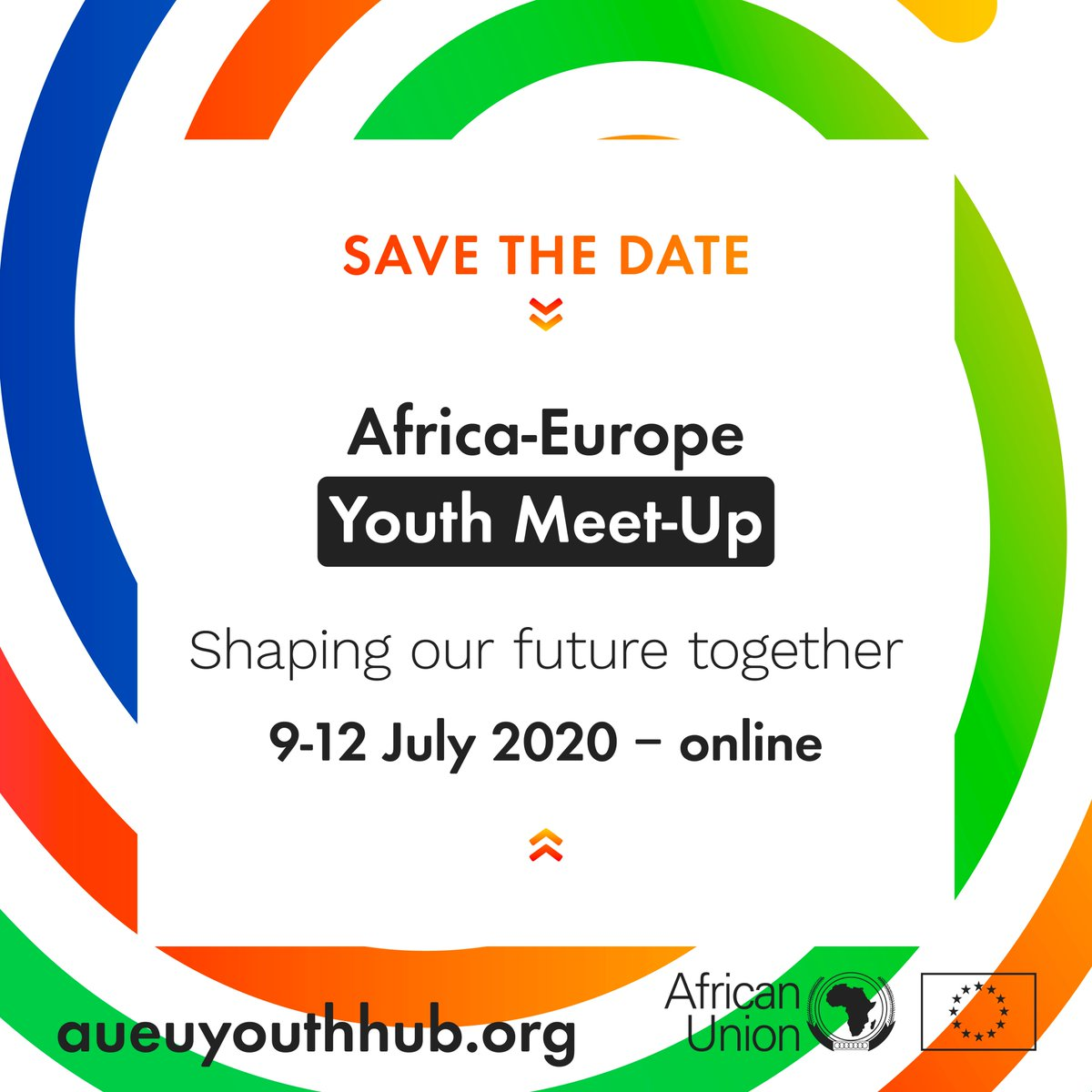 #EuropeDay: 9 May - #AfricaDay:TODAY!  Nothing will stop African & European #youth from coming together to discuss our future.   Save the Date for the  Meet-up  This is a youth consultation on the road to the African-European Summit Stay safe & stay tuned #aueutyouthhubpic.twitter.com/QUMw3iozPp