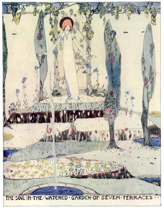 Jessie M. King, Soul in the Garden of Seven Terraces, 1915, illustration for an Oscar Wilde fairy tale #womensart