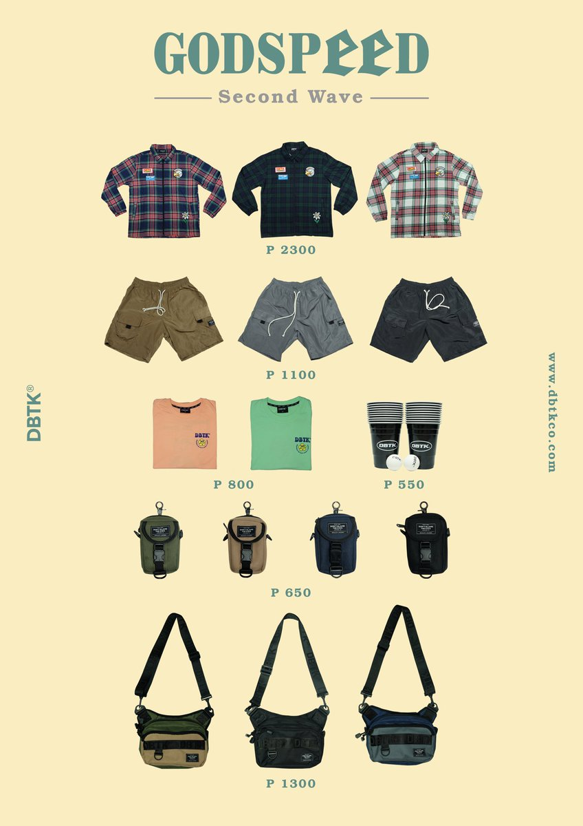 𝑫𝑩𝑻𝑲 𝑮𝒐𝒅𝒔𝒑𝒆𝒆𝒅 𝑺𝒖𝒎𝒎𝒆𝒓 2020 - 2nd Wave  Godspeed Tartan Zipped L/S: 2300PHP 𝐒peed Summer Shorts: 1100PHP Rest Day Tee: 800PHP DBTK Beer Pong Cups with Ping Pong Balls: 550PHP Multi Coin-bag with Strap: 650PHP Compact Body Bag: 1300 PHP <br>http://pic.twitter.com/h21GIPKzPY