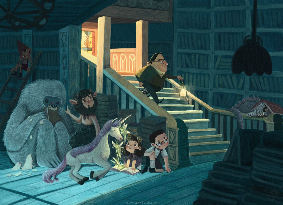 Night at the Library.  I redraw my old artwork from 2016 which was my personal favorite back then. I wish I can draw or write this kind of story one day.  #kidlit #kidlitart #childrenillustration #illustrationpic.twitter.com/Bk5eUFYY0X