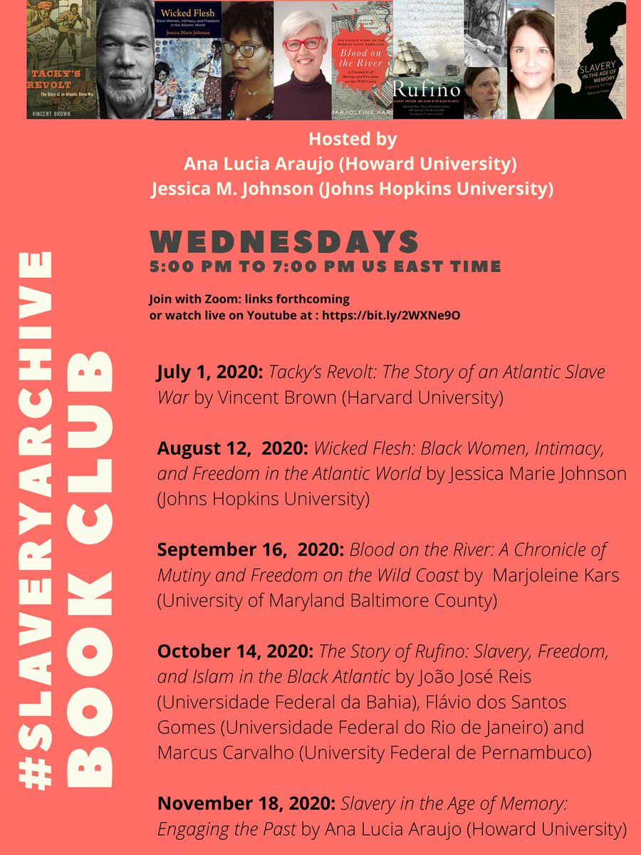 Can't wait to join @analuciaraujo_ hosting the #slaveryarchive book club! Join us on Zoom (the email to receive the link is on the flyer) and support these authors! Books available for purchase/preorder via @harvardpress @PennPress  @thenewpress @OUPAcademic & @BloomsburyPubpic.twitter.com/OuEuIVTiZz