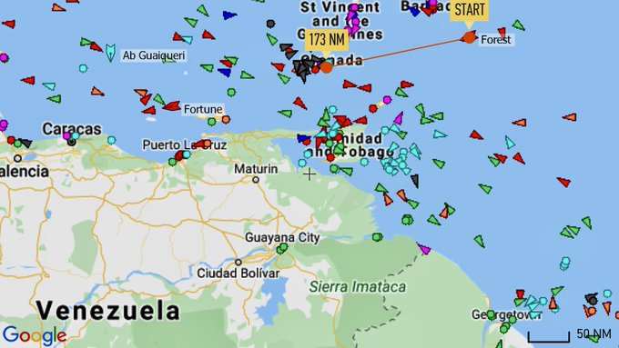 """""""Forest"""", the 2d #Iran/ian-flagged tanker entered the waters of #Venezuela to deliver its cargo to the people of Venezuela and break the embargo illegally imposed by the #US.  #Iran is implementing the articles 2 and 3 of its constitution: support the oppressed #VenezuelaLibre pic.twitter.com/1OrtJyI1NN"""