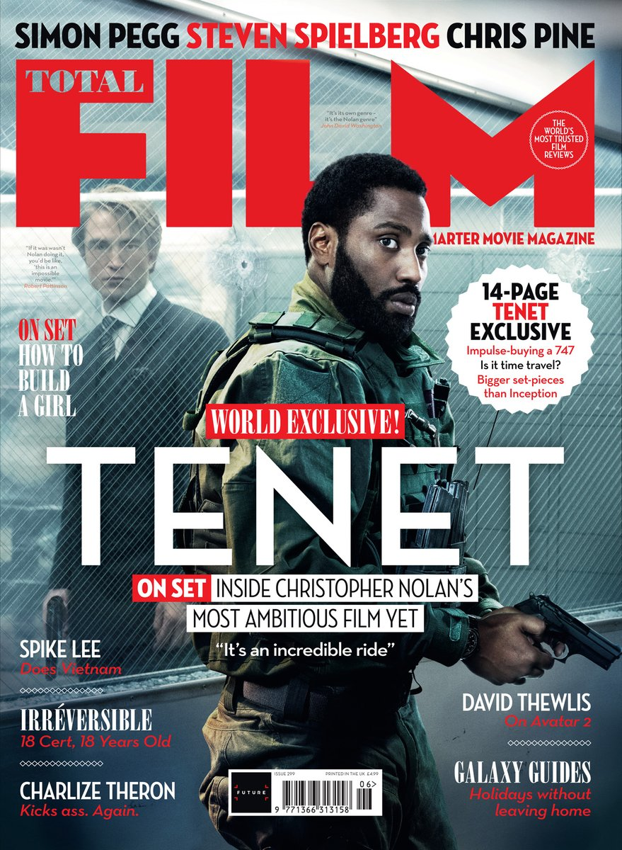 Christopher Nolans time-bending action epic @TENETFilm is on the cover of Total Films new issue! Read our world-exclusive on-set report in the new issue, on sale Friday, 29 May. Heres your first look at the newsstand cover #Tenet