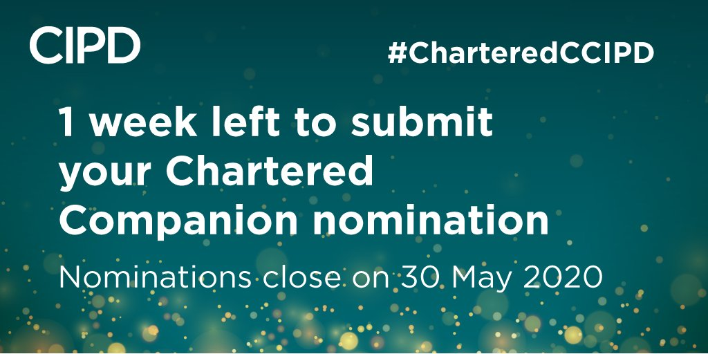 1 week to go! The Chartered Companion Nomination window closes on 30 May 2020, don't forget to submit your nominations before this date. Download the nomination form here ➡️ https://t.co/yI3yliIqGl #CharteredCCIPD https://t.co/4DWm8AXP3a