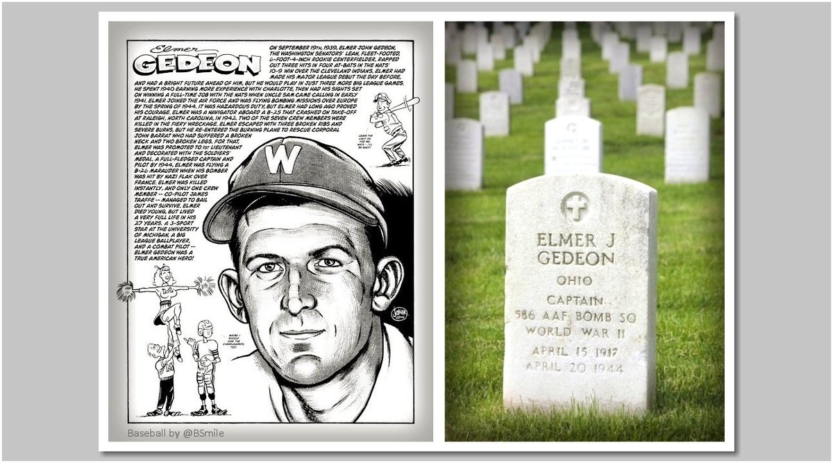 Capt. Elmer J. Gedeon, major league player KIA while piloting a B-26 bomber on a mission over France during WWII (1944) #MLB #Baseball #MemorialDay https://t.co/ShSAt2XiQ8