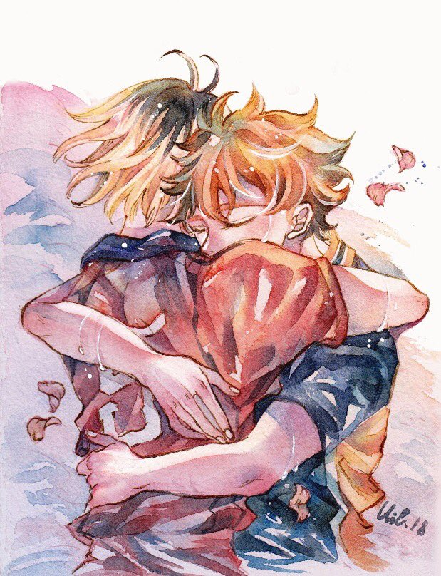 Feels like resharing this hug I've been dreaming of  . #haikyuu #fanart #hinatashouyo #kozumekenma #watercolor #illustration pic.twitter.com/hXFml4bj1Q