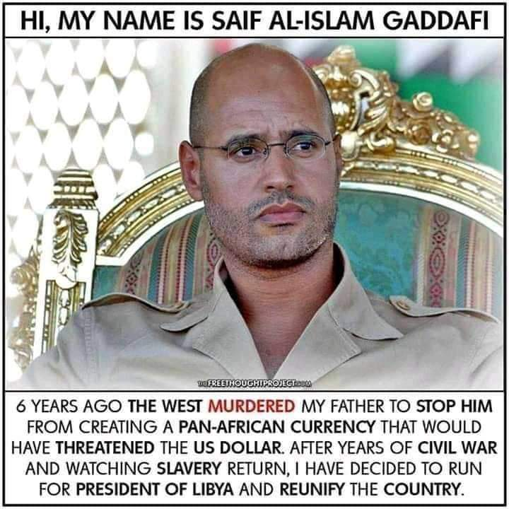 Let support the only living Col. Gaddafi's son for Libya's Presidency. #Retweet to share the message! pic.twitter.com/a3RpohnSrQ