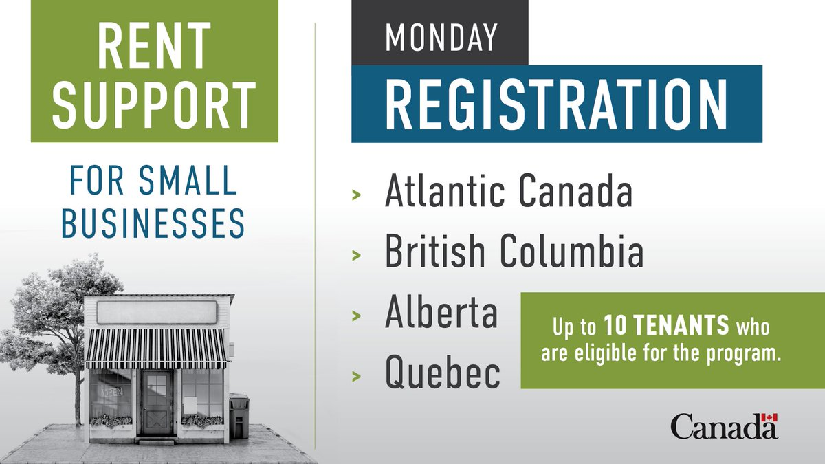 If you are a property owner located in Atlantic Canada, BC, Alberta or Quebec, and are eligible for the Canada Emergency Commercial Rent Assistance for small businesses, apply today! More info on how to apply and eligibility: ow.ly/Y0Po50zPmtD