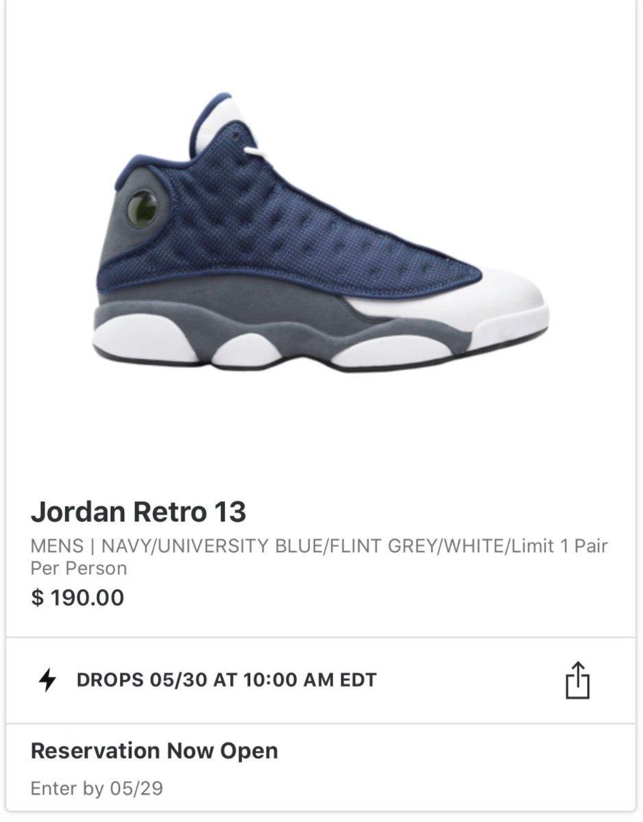 App reservation of Air Jordan 13 Retro