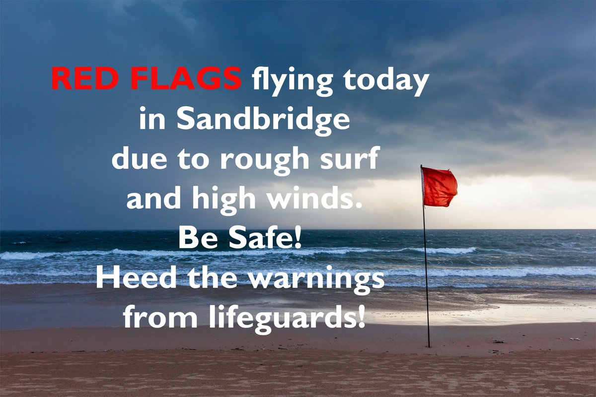 Red flags flying at Sandbridge Beach today due to rough surf and danger of rip currents all along the east coast today. Heed the warnings from lifeguards. #ripcurrent