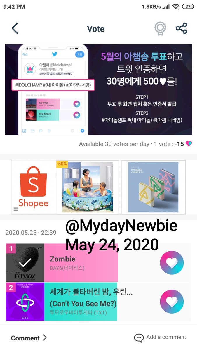 QUICK GIVEAWAY FOR PH MYDAYS  Kapag nanalo ang Zombie sa poll ngayong gabi  1 lucky My Day will receive PHP 500 cash!  Mechanics - Reply a screenshot of your voting certificate or the voting poll  - must include time, date and username - 1 entry per account only - until 12PM KST <br>http://pic.twitter.com/QuLaEursvE