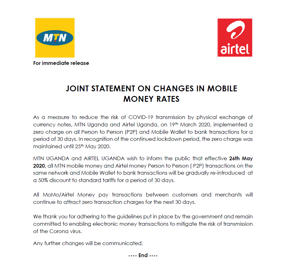 #Telecoms alert: MTN Uganda & Airtel #Uganda to reinstate 50% transaction fees on Person to Person ( P2P) transactions on same network & Mobile Wallet to bank transfers wef 26th May 2020. Might return to 100% transfer fees after that date #MobileMoney #epayments #fintech #COVID19pic.twitter.com/oViImi2Elb