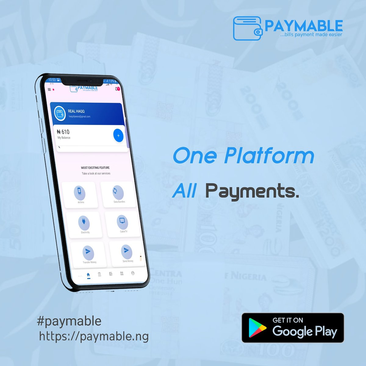 With just paymable, you can make payment for different bills.Anytime, Anywhere.Jack of all trades, master of bills. One platform...all payments.#app #paymable #pay #tech #technology #internet #bills #electricity #cable #nigeria #arewa #arewapeople #northernnigeria #developmentpic.twitter.com/ejvvJq7Srw