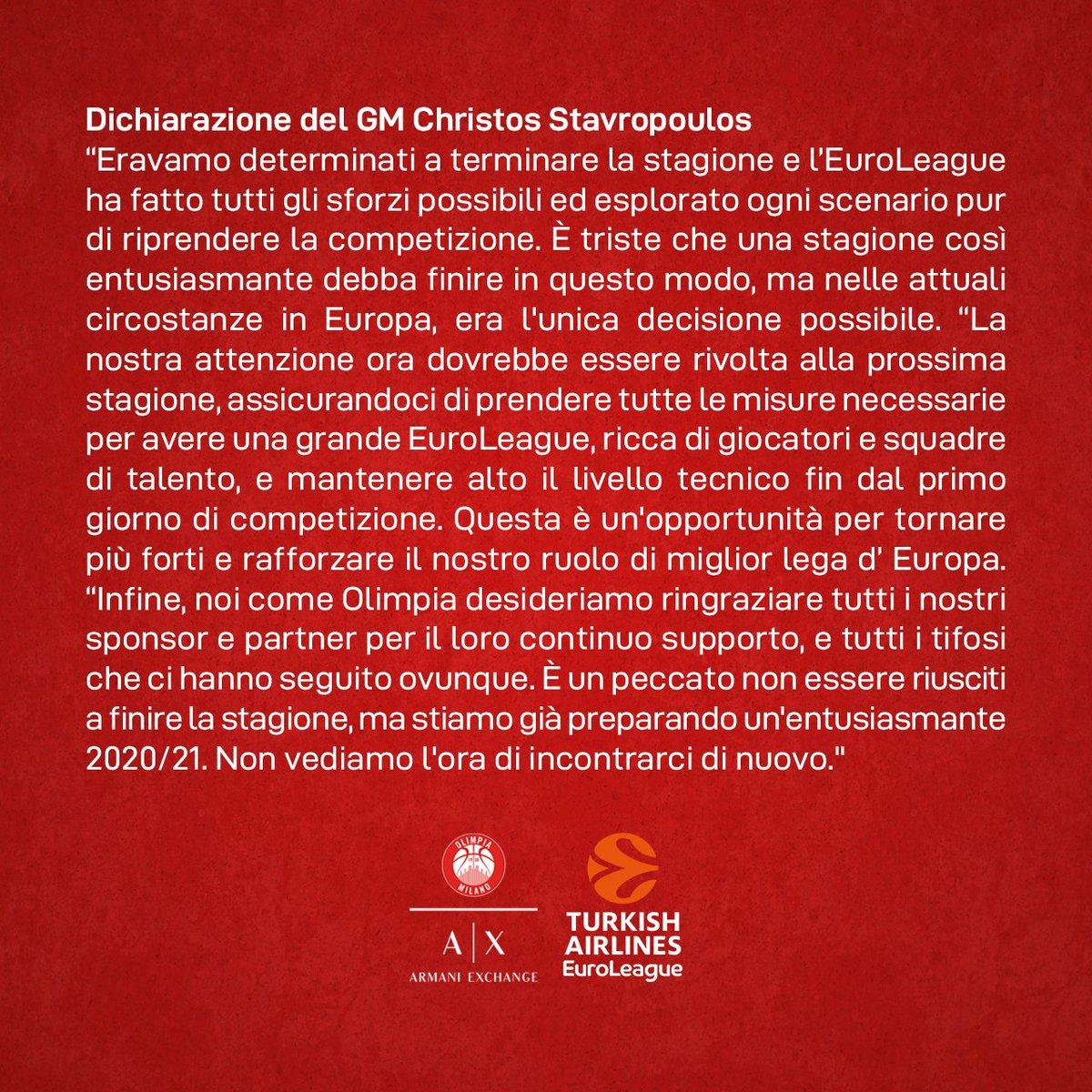 La dichiarazione del nostro GM Christos Stavropoulos.  #insieme #EuroLeague  @EuroLeaguepic.twitter.com/C2O8TYCiTY