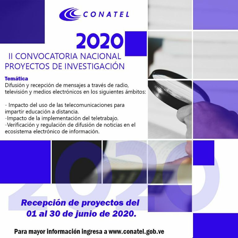📣¡Entérate! Del 1 al 30 de junio #Conatel abre II Convocatoria Nacional de Proyectos de Investigación 2020. 📡👉 bit.ly/2SH3x8C ¡Participa! #RedoblemosEsfuerzoYPrevención