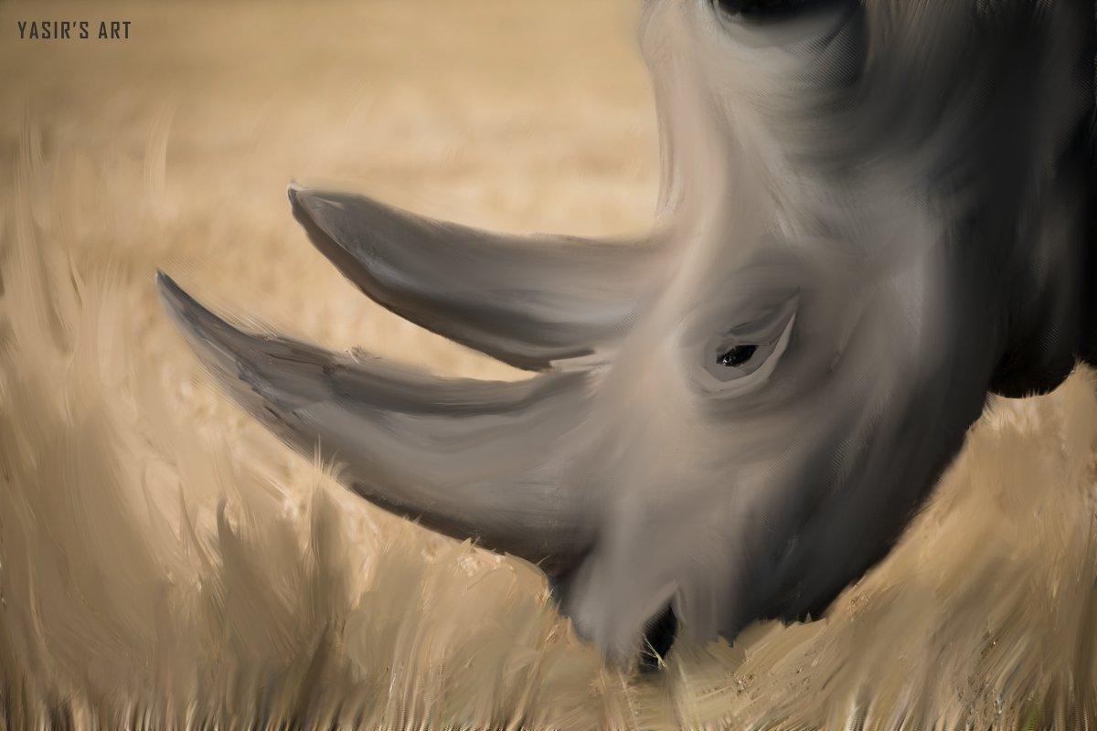 Tried mixer brush painting in Adobe Photoshop -   @AdobeUK @Photoshop @AdobeSpark @Adobe @creativecloud @AdobeDrawing #Adobe #drawingart #drawing #brush #Mixer #London #Dubai #RhinoClassic #wildlife