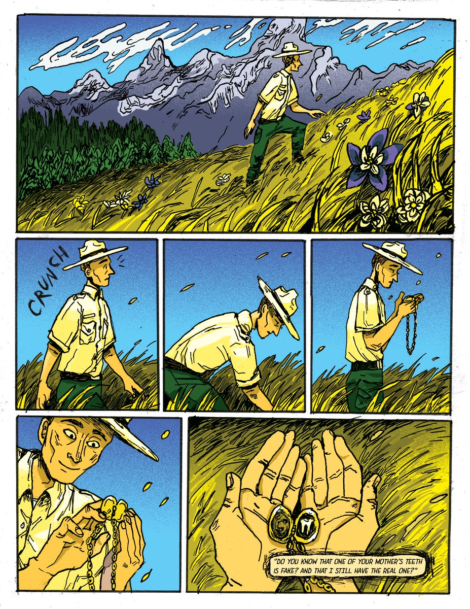 The final for one of my other classes: Safekeeping, about a park ranger who finds a necklace with a strange origin. (1/3) #comics pic.twitter.com/iX4Ljm9iYG