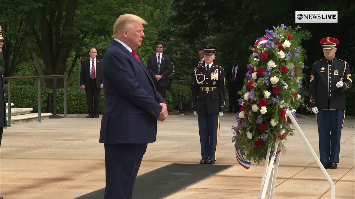 Surprised the ol' bone spurs didn't flare up at the sight of those soldiers standing there.