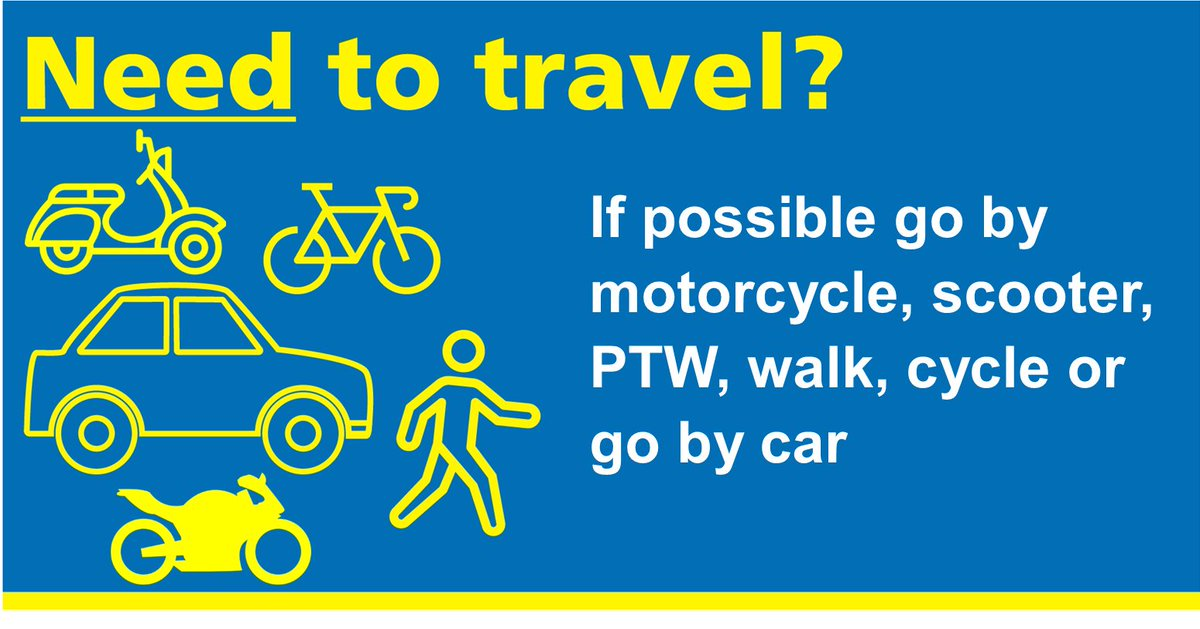 If you have to travel to work, please avoid using public transport. If possible go by motorcycle or  scooter.  #MCIATweets #TravelSafely #Transport #Commuting pic.twitter.com/zt3kKY0nVP
