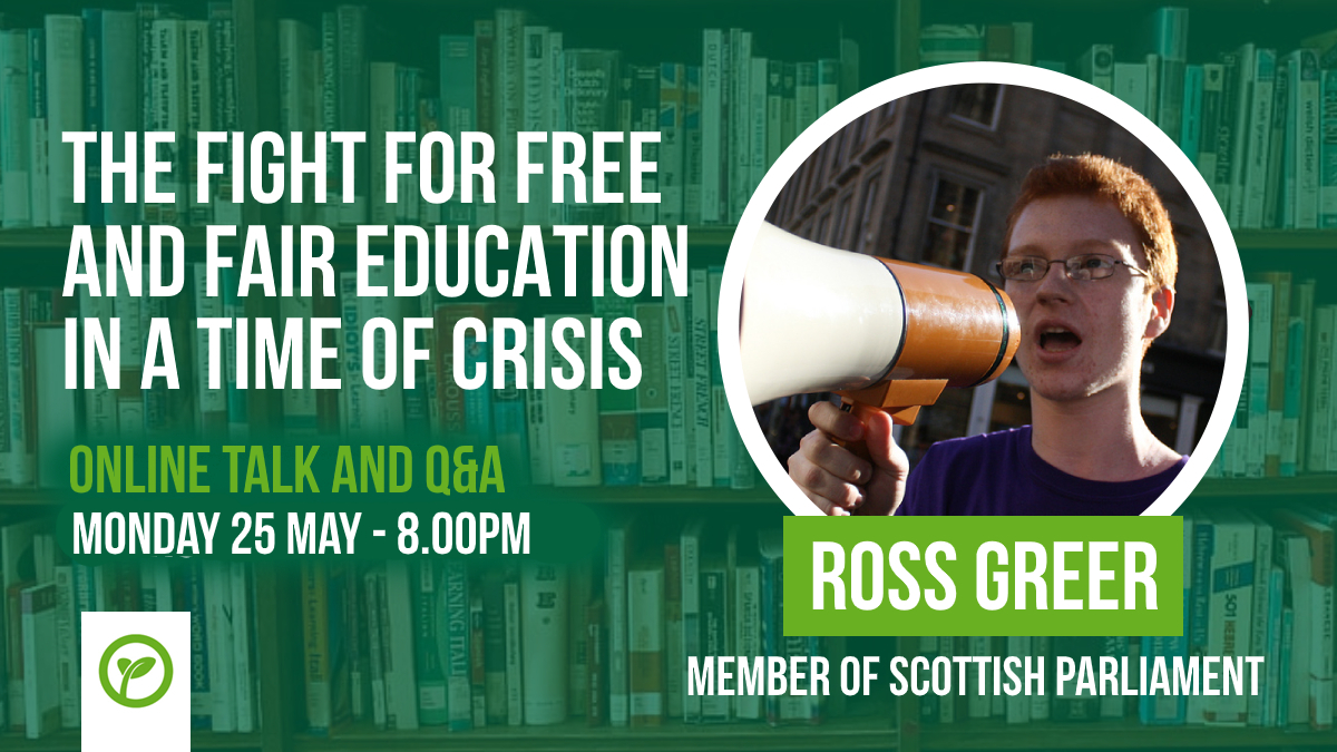 Our education system is in crisis - and as ever, its students that will feel the worst of the damage. Join us tonight at 8pm with @Ross_Greer MSP on how we win free and fair education for all in the current landscape. All welcome! Register here! actionnetwork.org/events/the-fig…