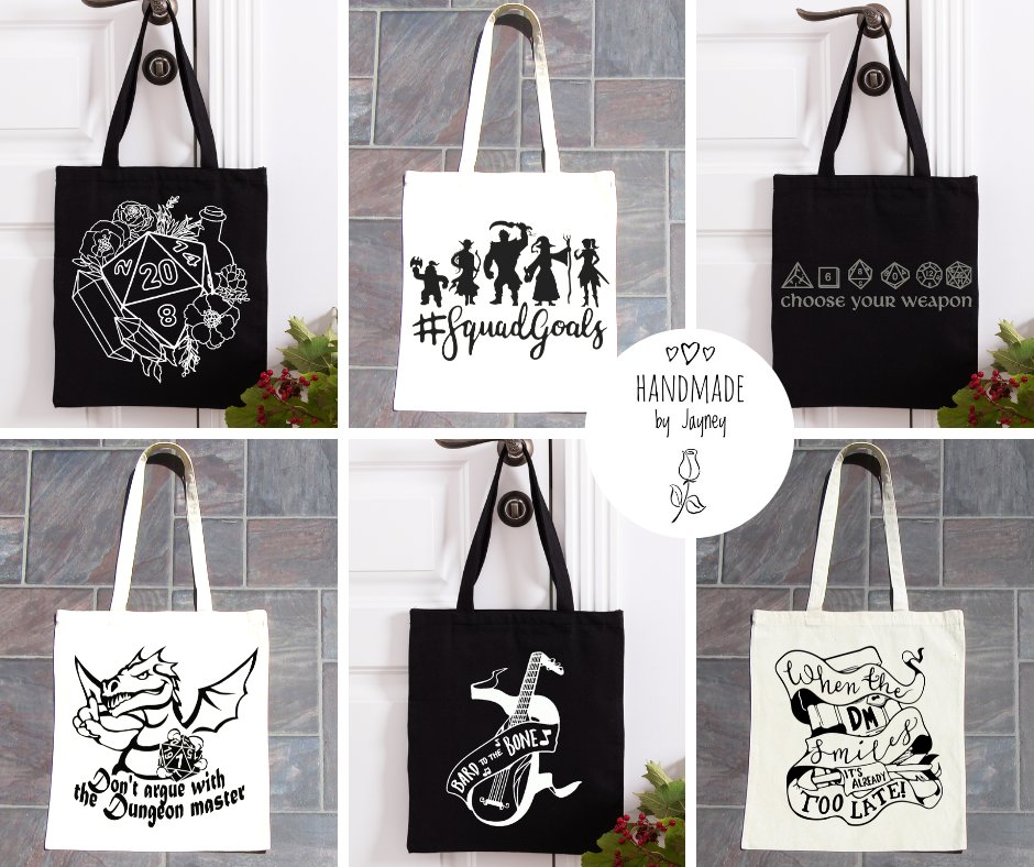 Monday night means #GamingNight here so I'm showcasing some of the the new tote bags added to the store  www,http://ow.ly/CIeK50zPpNI  #dnd #dungeonsanddragons #dnd5e #rpg #tabletop #squadgoals #ttrpg #smilingdmpic.twitter.com/WHBGZ3G2tb