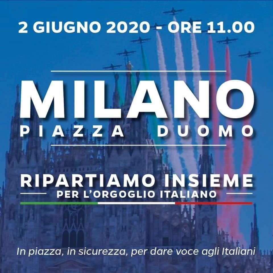 IL 2 GIUGNO ALLE 11 IL #CENTRODESTRA A #MILANO IN PIAZZA DEL DUOMO# PER FAR SENTIRE FINO A #ROMA LA VOCE DEI CITTADINI #LOMBARDI  #2giugno #lega #iostoconsalvini #forzalombardia #FermiamoloInsieme  @bologninistefan @matteosalvinimi @GrimoldiPaolopic.twitter.com/sTy5yIGrim