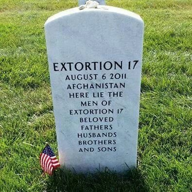 Take some time today to remember the members of call sign Extortion 17 (One Seven); shot down while transporting an Immediate Reaction Force to reinforce a unit of the 75th Ranger Regiment in the Tangi Valley, southwest of Kabul, Afghanistan. #MemorialDay   https:// youtu.be/AaVaRE_VcAc    <br>http://pic.twitter.com/eqmHsOWrJh