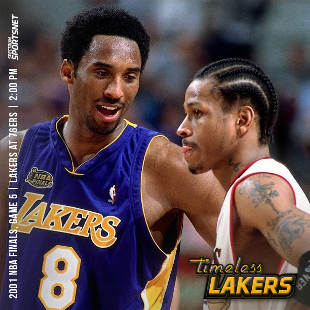 All day long well be airing #Lakers championship games including Game 5 of the 2001 NBA Finals at 2 PM. #TimelessLakers