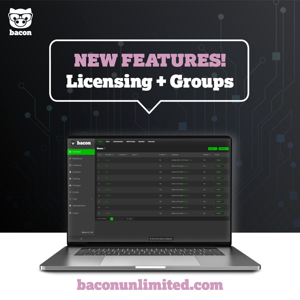 Announcing Bacon v1.4! NEW FEATURES: Licensing and Groups.  FREE #webinar on June 5 @ 2pm. Sign up today at https://baconunlimited.com  #baconunlimited #getbacon #bacon #itsupport #itservices #itsoftware #tech #newtech #technology #software #windows #mac #linuxpic.twitter.com/iFEelCdeJj