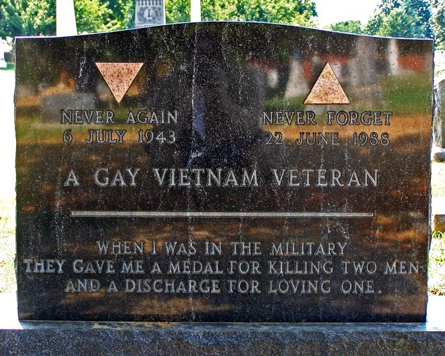 The tombstone of Leonard Matlovich, recipient of the Purple Heart and the Bronze Star.