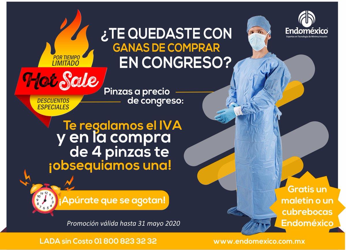 🔥⚡️SÚPER #HOTSALE⚡️🔥 En la compra de cualquier pinza de #Endoméxico te regalamos el IVA y si compras 4... te regalamos una pinza ⏰Hasta 31 mayo 2020  📞 LADA sin Costo: 01 800 823 32 32 📱WHATSAPP: (+521) 22 24 55 99 75  #laparoscopia #cirugia #equipomedico #instrumentalmedico https://t.co/9IgB62YnVQ
