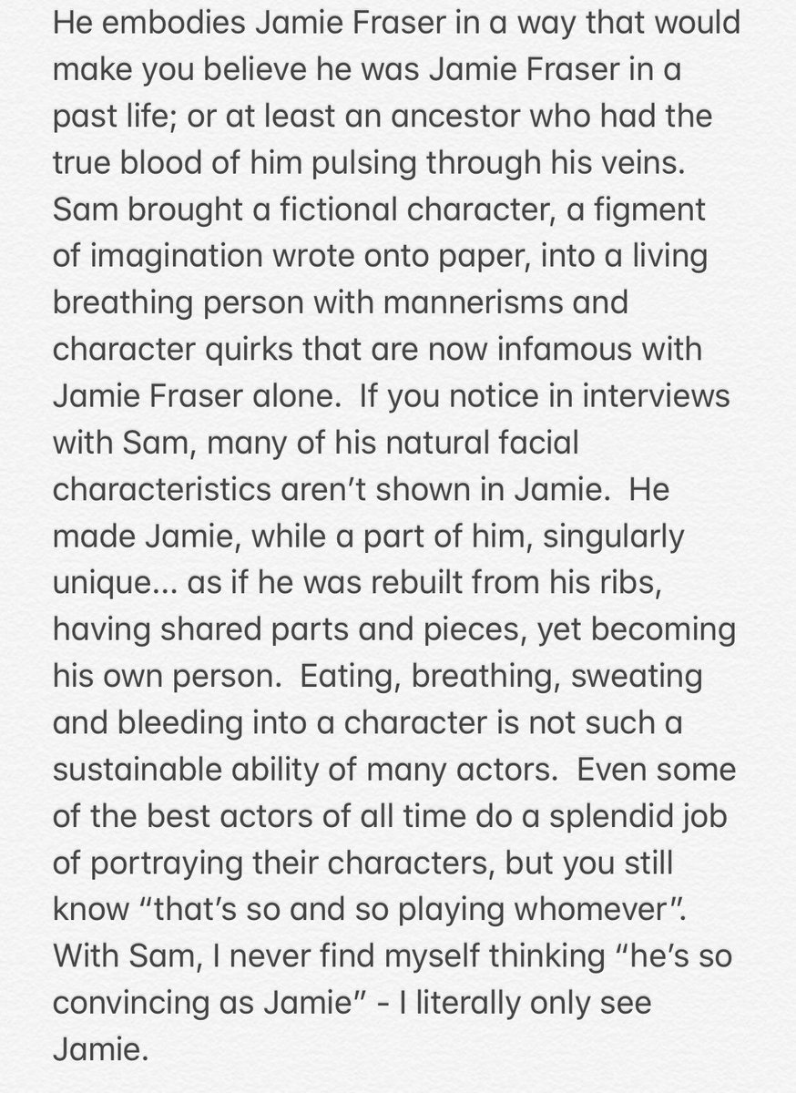 Rambling thoughts after a weekend #Outlander binge on why @SamHeughan deserves an #Emmys2020 and so much more for his portrayal of #JamieFraser on @Outlander_STARZ ❤️🙌🏻 #OutlanderS5 #OutlanderFinale