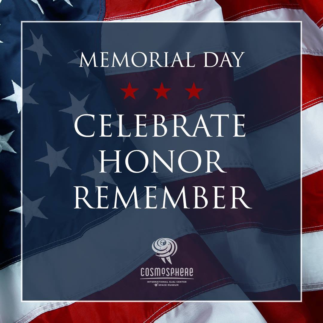 Today and everyday we honor those who have given all for all of us. We are open today from 9 am - 6 pm. #MemorialDay #Cosmosphere #VisitHutch #Hutchinson #Kansas #Hutchinstrong #ChooseHutch #AdAstra #WeHeartHutch #NoPlaceLikeKS