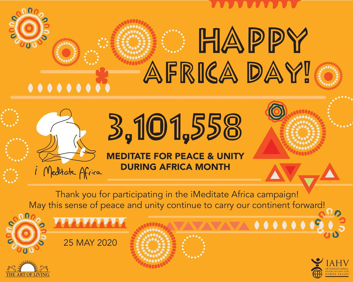 3,101,558 people meditate for peace and unity during Africa Month through the iMeditate Africa campaign!  May this sense of peace and unity carry our continent forward. Thank you!  #imeditateafrica #worldmeditates #srisriravishankar #meditate #peaceforafrica #africanunity pic.twitter.com/IkUsB20tbx