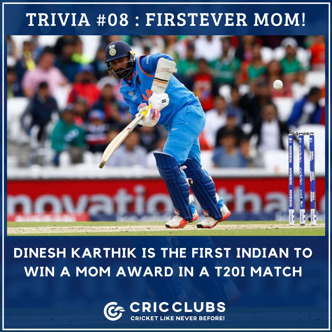 Do you know?  Indian wicketkeeper-batsman @DineshKarthik is the first Indian to win a Man of the Match award in a T20I match for an unbeaten 28-ball 31 against South Africa in 2006.  #ICC #BCCI #TeamIndia #DineshKarthik #DK #Cricket #batting #Wicketkeeper #T20I #INDvSA @cricclubs<br>http://pic.twitter.com/Ps1YkOSSwc