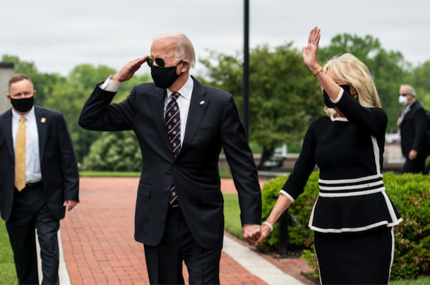 Joe Biden isn't afraid to be seen in public wearing a mask, a leader leads by example!