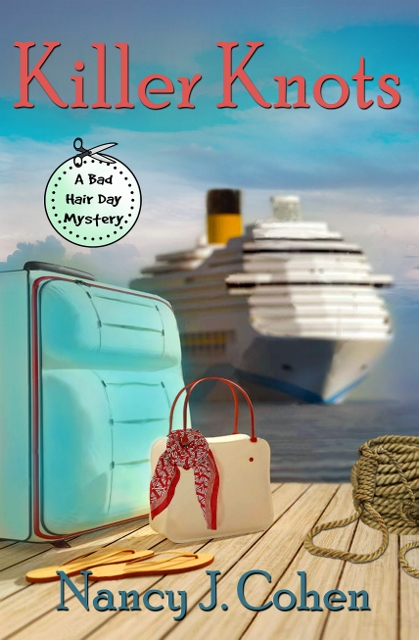 """""""Hairdresser Marla Shore anticipates a leisurely cruise with her fiancé but a shipboard murder turns the outing into a mystery on the high seas."""" KILLER KNOTS, a #cruiseship #cozymystery https://amzn.to/2IXkA23pic.twitter.com/E62BrIz5wo"""