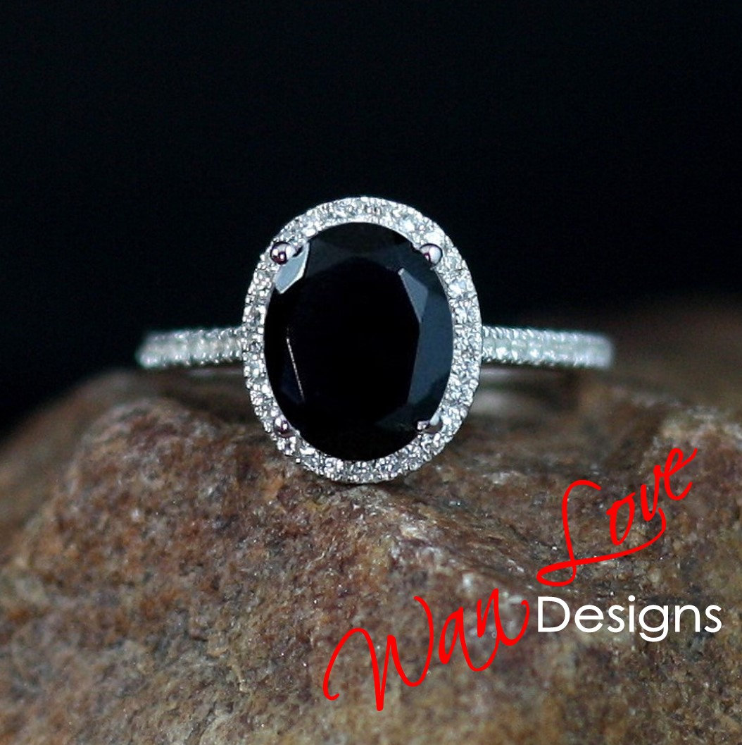 Black Spinel & Diamond Oval Halo Engagement Ring cut 4ct 10x8mm Custom Wedding Aniversary Gift  #Anniversaryring #Weddingrings #WanLoveDesigns #EngagementRings #PlatinumDesigner