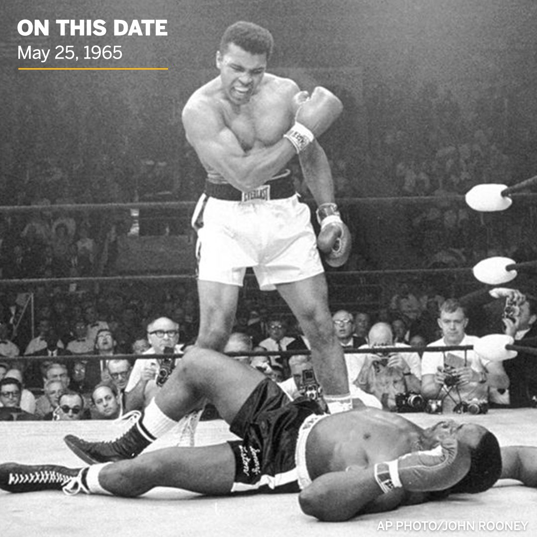 Muhammad Ali standing over Sonny Liston is one of sport's most iconic images and it was captured 55 years ago today 🐐 https://t.co/OEyJXmsTh9
