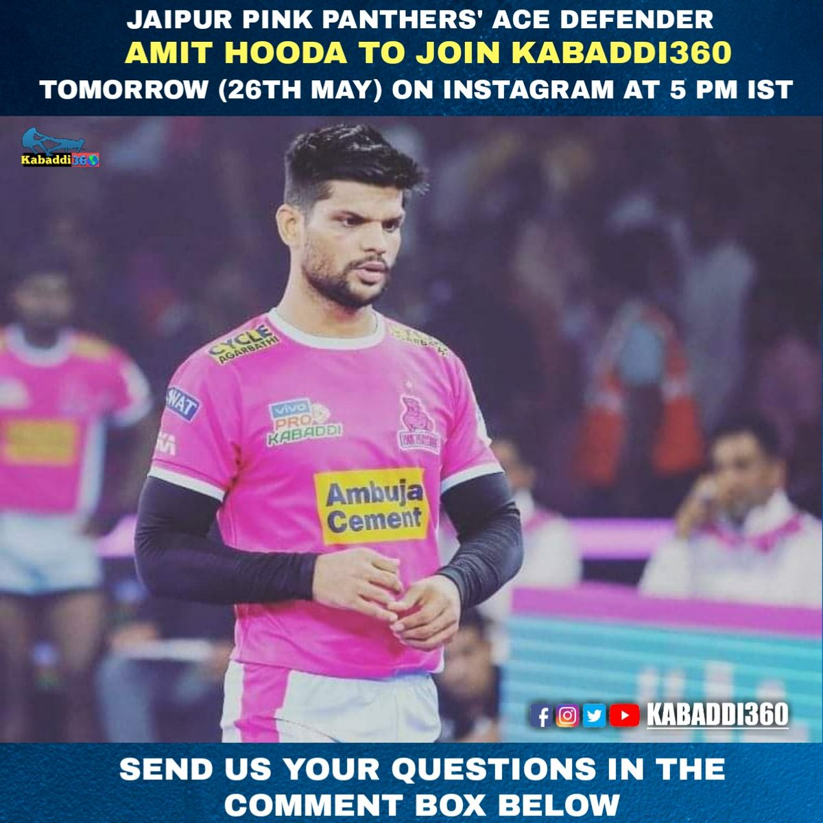 If you had to ask a question to Amit Hooda, what would you ask him? Join us LIVE tomorrow at 5 PM IST.   #Kabaddi360Live #Kabaddi360 #AmitHooda