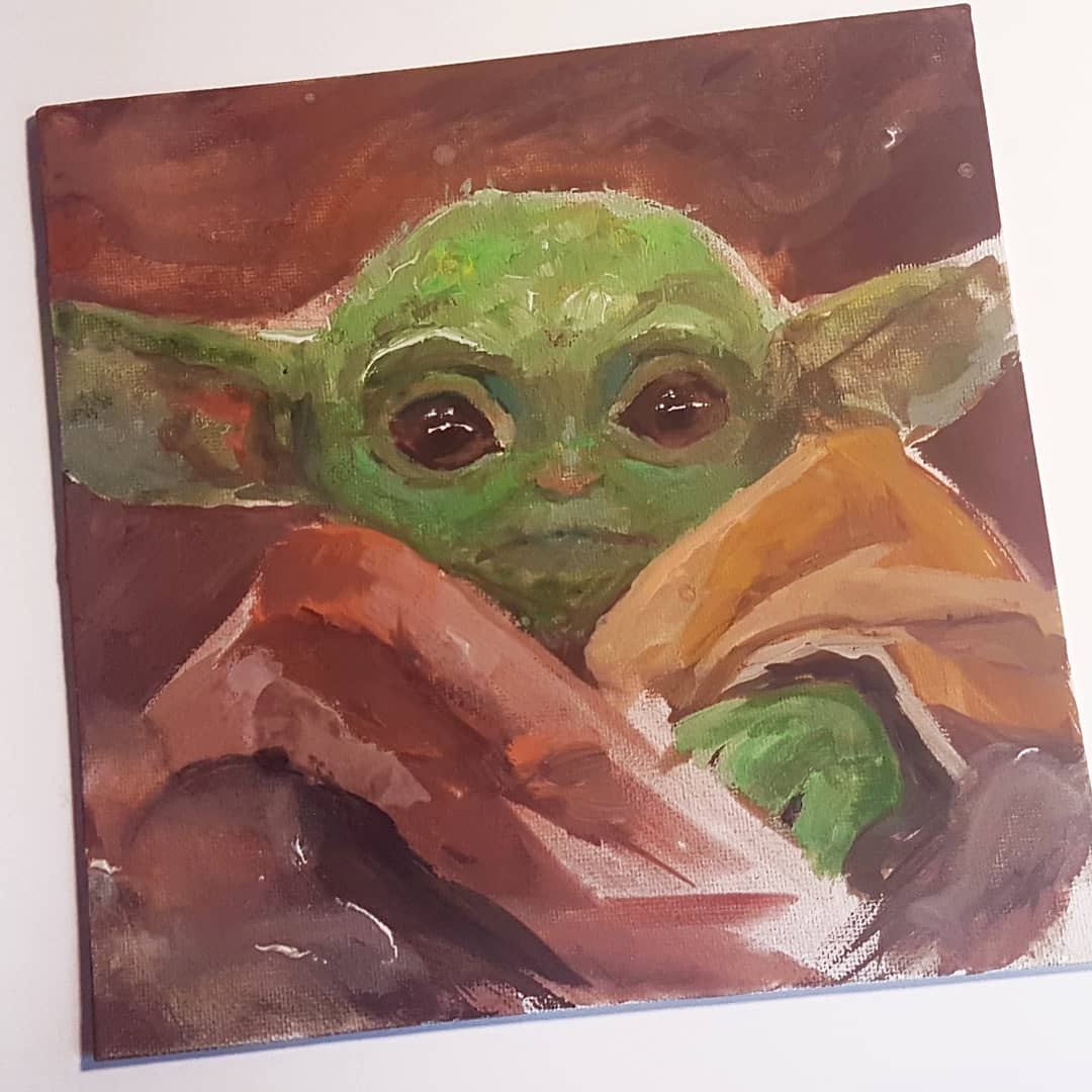 I drew this quick Baby Yoda painting! Special credit to @Cal_Schroeder ☺ Sadly I lost alot of the process but I still tried to make a video: m.youtube.com/watch?feature=…