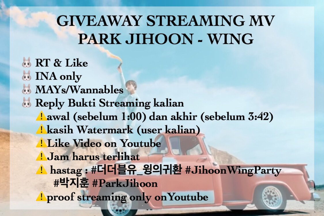 GIVEAWAY   STREAMING MV PARK JIHOON - WING   Prize :  Album The W (Blanc ver) BCA/OVO 50rb untuk 2org  Rules on Pict  Please read & follow intruction  Until 06/06 23.59  GOODLUCK <br>http://pic.twitter.com/cfzMOXLiIs
