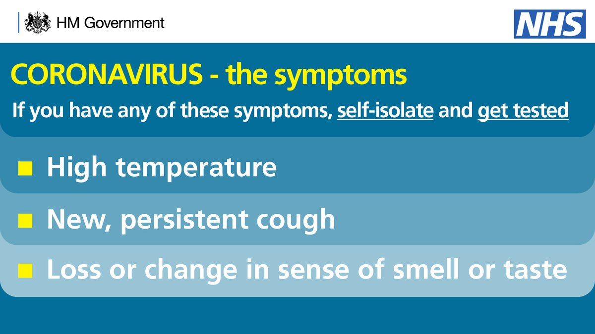 You must self-isolate if you develop: ▪️ a new, persistent cough OR ▪️ high temperature OR ▪️ loss/change in your normal sense of smell or taste No one in your household should leave home if any one person has symptoms. Book a test: nhs.uk/coronavirus