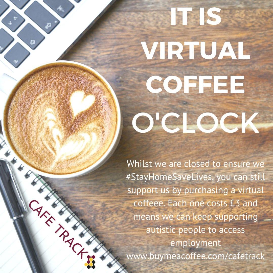 You can buy a Virtual Coffee and help us to keep supporting autistic people to access employment buymeacoffee.com/cafetrack Each one costs £3 Thank You #autism #supportlocal @PaddyMcGuinness @TRACKnnLtd