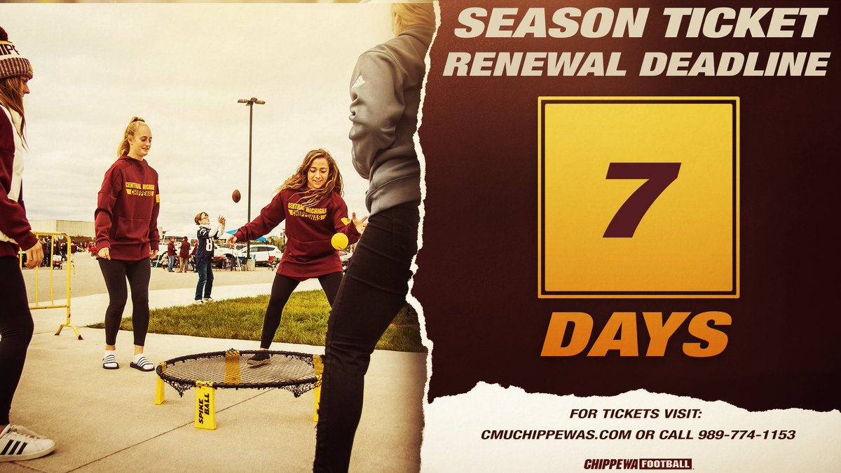 Do you miss tailgating as much as we do⁉️ Just 7️⃣ days left to renew your 🏈 season 🎟 and secure your favorite seats in Kelly/Shorts 🏟‼️  All season tickets come with a sideline 🎟 for the WMU game at Ford Field valued at 💲4️⃣0️⃣   🎟:   #FireUpChips🔥⬆️