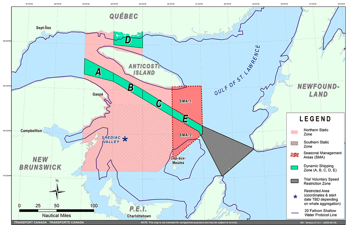 A #NASPCrew flight confirmed no #RightWhales were detected in one of the shipping lanes south of Anticosti Island in the Gulf of #StLawrence. We have therefore lifted the speed limit in Zone E. See following map: https://t.co/V6QilvB6Jp