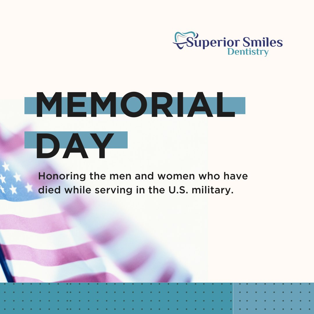 Honoring the men and women who died while serving in the U.S. military.   #dentistry #superiorsmiles #bakersfield #dentist #dental #smile #teeth #odontologia #dentista #cosmeticdentistry #dentalcare #dentalphotography #tooth #dentalimplants #veneers #orthodontics #dentalhygienistpic.twitter.com/jy7onX4NS6